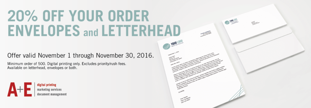 20% off letterhead and envelopes at A&E